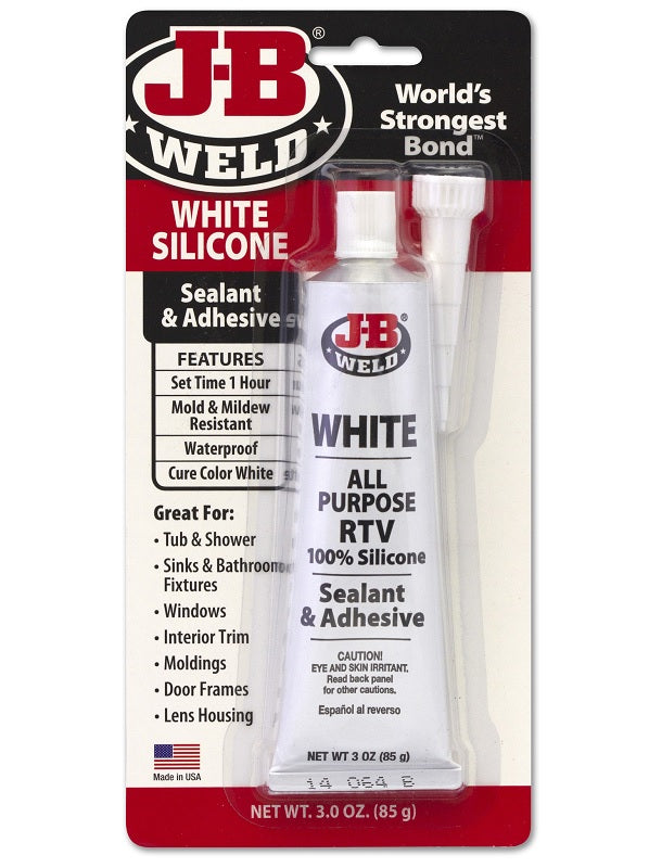 JB Weld White Silicone Sealant Adhesive RTV No Shrink Mold Resistant 85gr 31312