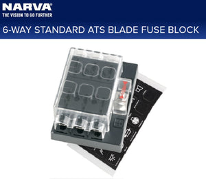 Narva 6 Way Fuse Block STD ATS Blade or Plug in Type Circuit Breaker Box 54431