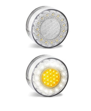 LED Bullbar Indicator Park DRL 12V Clear Amber Front Light Pair Suits ARB TJM