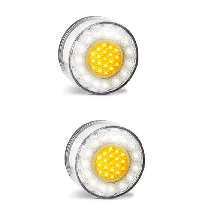 LED Bullbar Indicator Park DRL Clear & Amber Light Pair Suits Toyota Hilux,Prado