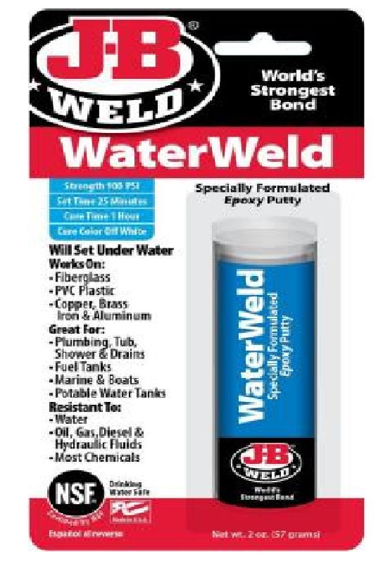 JB Weld WaterWeld Specially Formulated Epoxy Putty Seal Plug Patch 8277