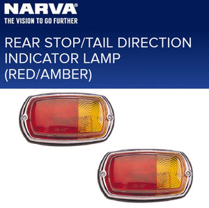 Narva Rear Stop Tail Indicator Lamp Light Red/Amber 12v (2 Pack) Caravan Camper