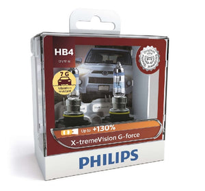 Philips HB4 X-tremeVision G-force Headlight Globes 12V 60W Vibration Resistant