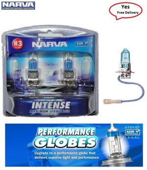 NARVA H3 Intense Plus 30 Headlight Halogen Globes Bright White Light Output 12V