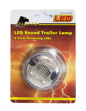 LED Round Trailer Lamp 12v 5 Clear Reverse LED Lights 50000 Hrs 79mm x 42mm