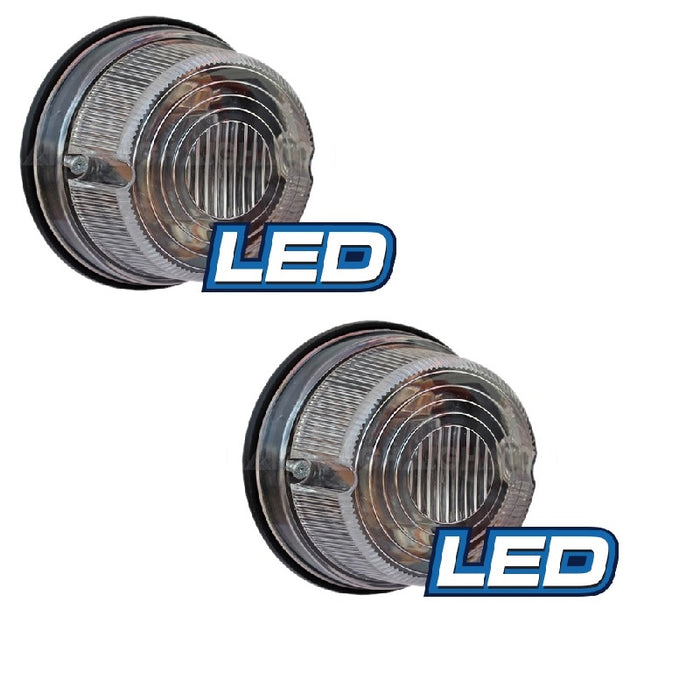 LED Round Trailer Lamp 12v 5 Clear Reverse LED Lights 50000 Hrs 79mm x 42mm PAIR