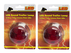 LED Round Trailer Lamp PAIR 12v Stop Tail Licence Plate LED Lights 50000 Hours 79mm x 42mm