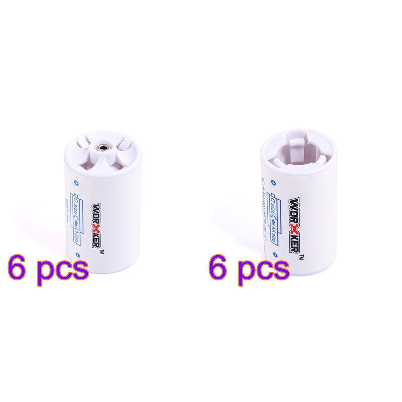 Worker 6 pcs AA to D AND 6 pcs AA to C Size Converter SAVE SPACE, SAVE MONEY!
