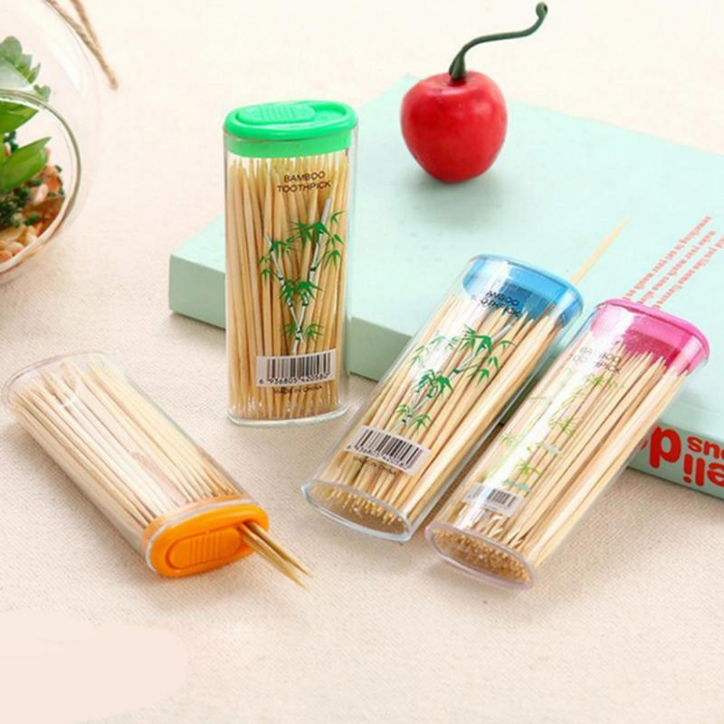 100Pcs/Box Bamboo Toothpicks Natural  High-quality Bamboo Environmentally Friendly Household Supplies Tools Random Colors