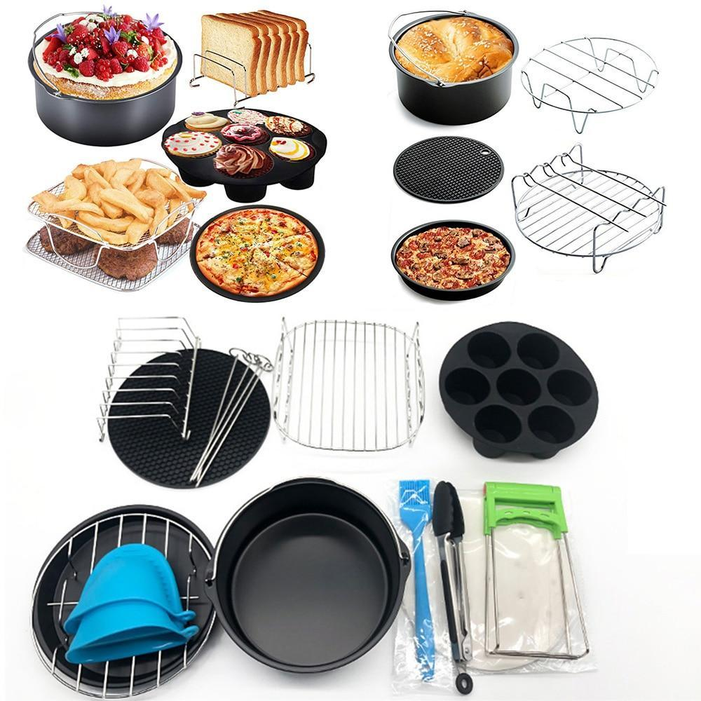 12pcs Air Fryer Accessories 7 Inch Kitchen Cooking Tool Baking Basket Pizza Plate Grill Pot Basket Grill Is Suitable For 7inch