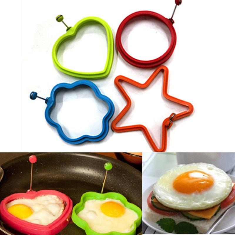 1PC Silicone Pancake Rings Fried Egg Mold Non-stick Kitchen Egg Cooking Tools Stars Heart Round Flower Shape Egg Mold OK 0283