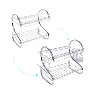 2 Tiers Dish Drying Rack Home Kitchen Dish Plate Bowl Cup Drying Rack Drainer Holder Organizer kichen Accessories