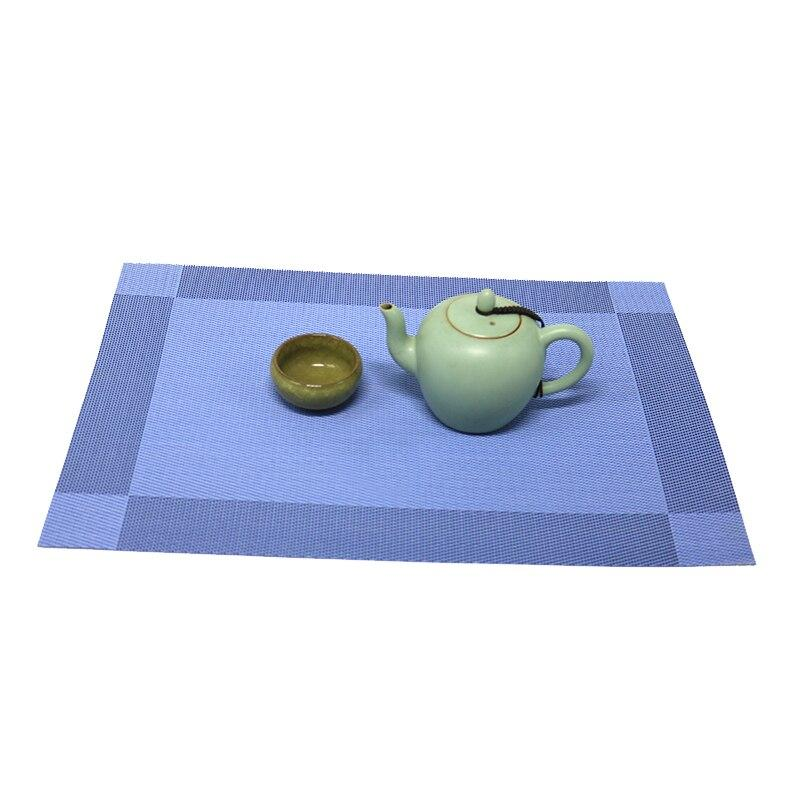 2pcs 4pcs 6pcs 8pcs PVC Placemats Table In Mats Pads Dining Table Blue Weave Non-slip place mat in Kitchen Stain-Resistant