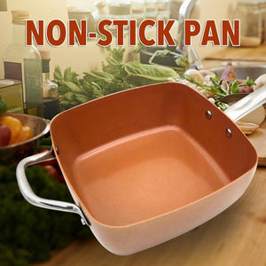 4PCS Ceramic Non-stick Pan Set With 10 Inch Deep Copper Square Fry Pan Glass Lid Fry Basket Steam Rack Kitchen Supplies