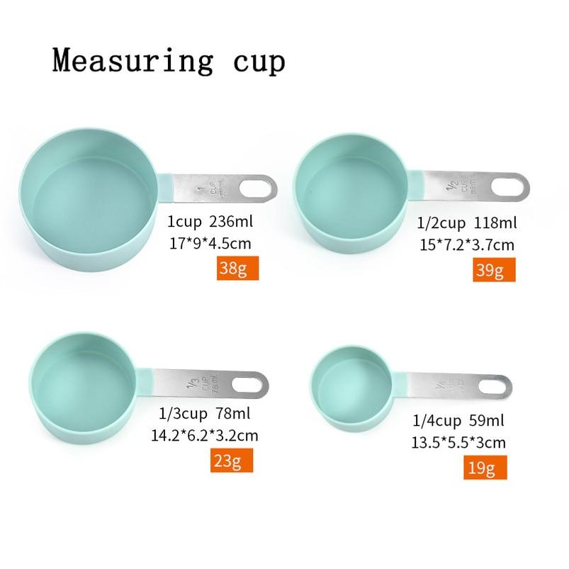 4Pcs Multi Purpose Spoons/Cup Measuring Tools PP Baking Accessories Stainless Steel/Plastic Handle Kitchen Gadgets