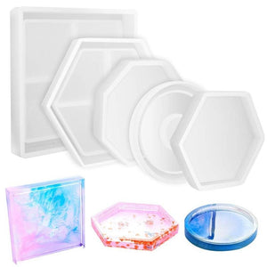 5Pcs Diy Coaster Silicone Mold Included Square Hexagon Circle Octagon Mold For Resin Concrete Cement Home Decoration