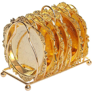 6pc Classical Golden Cocktail Metal Coaster Continental Vintage Zinc Alloy Silver Plated Gold Plated Mat placemat