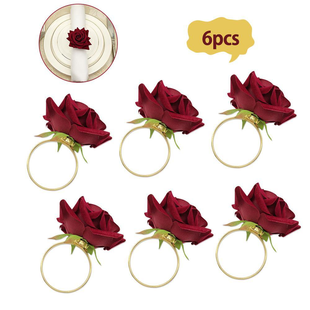 6pcs/Lot Romantic Rose Napkin Rings Alloy Napkin Buckle Holder for Wedding Receptions Gifts Holiday Banquet Decoration