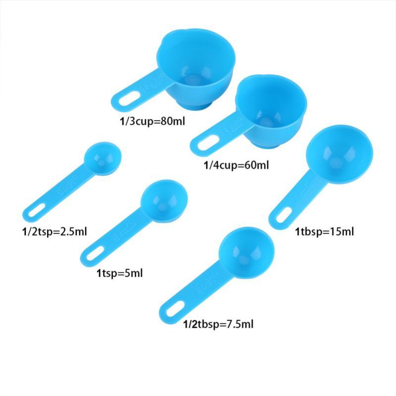 7 Pcs/Set Plastic Measuring Cups And Spoons Coffee Tea Sugar Cake Baking Liquid Measuring Cup Multifunctional Kitchen Tools