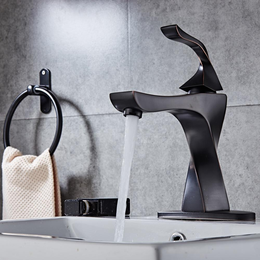 Basin Faucets Solid Brass Modern Bathroom Sink Faucet Single Handle Washbasin Hot Cold Mixer Water Tap Torneira