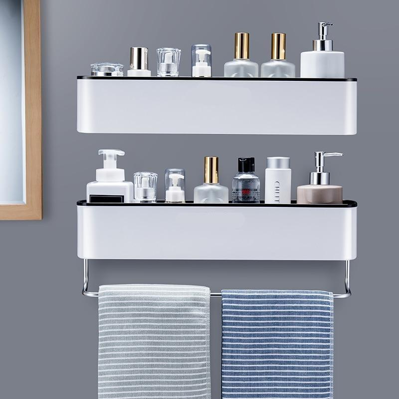 Bathroom Shelf Shower Caddy Organizer Wall Mount Shampoo Rack With Towel Bar No Drilling Kitchen Storage Bathroom Accessories