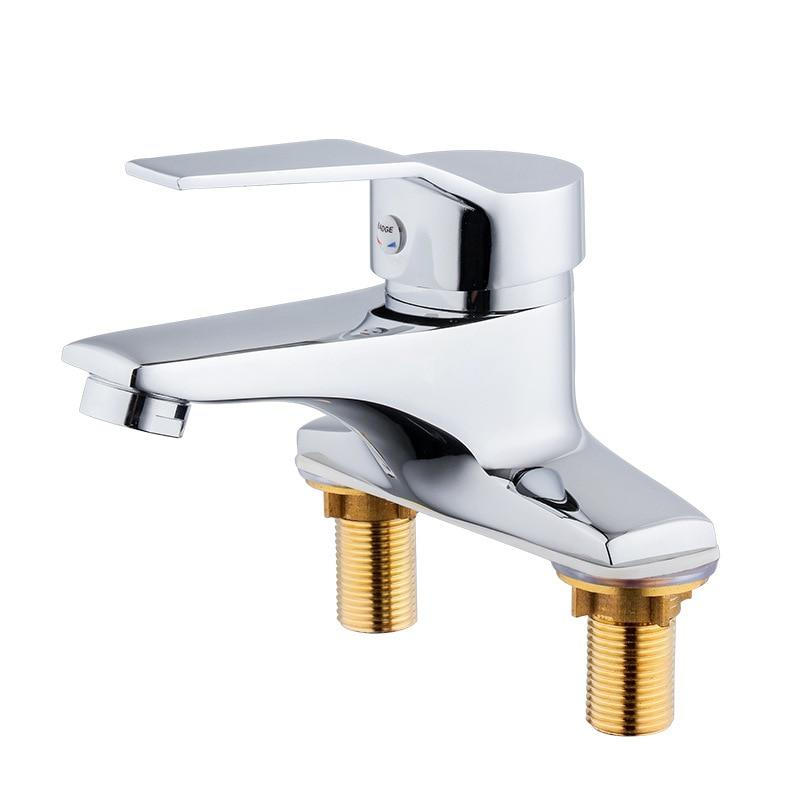Copper Double Hole Installation Wash Basin Faucet Hot And Cold Water Faucet Sink Faucet Mixer Single Handle Water Sink Mixer Tap