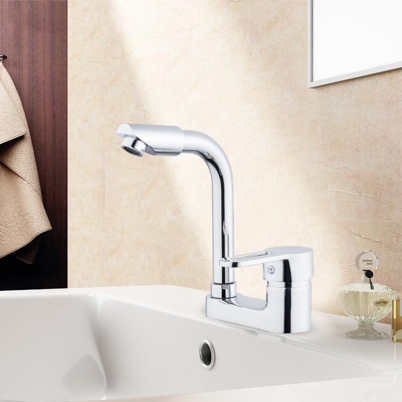 Double Hole Single Handle Basin Faucet Hot And Cold Water Brass Faucet Rotatable Head Washbasin Faucet