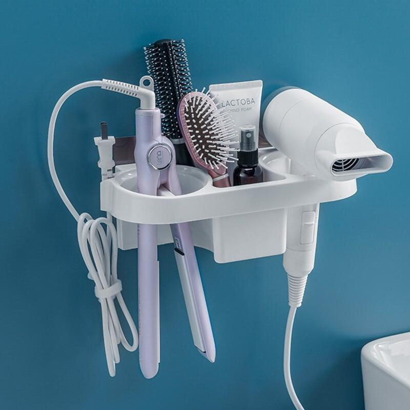 Hands Free Hair Dryer Holder Storage Box Curling Iron Shelf For Bathroom Organizer Storage Rack Bathroom Accessories Set Home