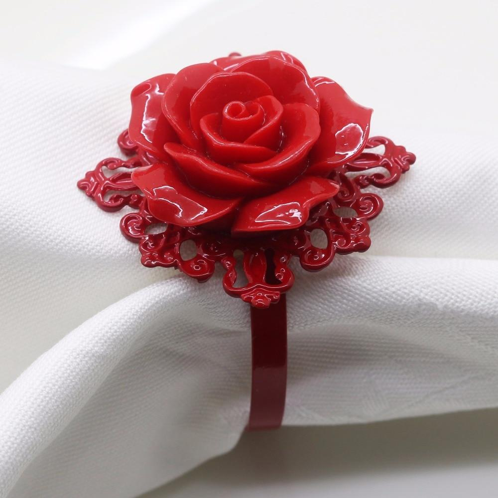 High Quality 6Pcs / 10Pcs Red Series Rose Decoration Napkin Ring  Suitable For Wedding Reception  Birthday Party  Silver  Buckle