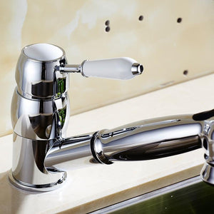 Kitchen Faucets 360 Degree Swivel Pull Out Kitchen Sink Faucet Water-Saving Polished black Basin Crane Mixer Brass Tap