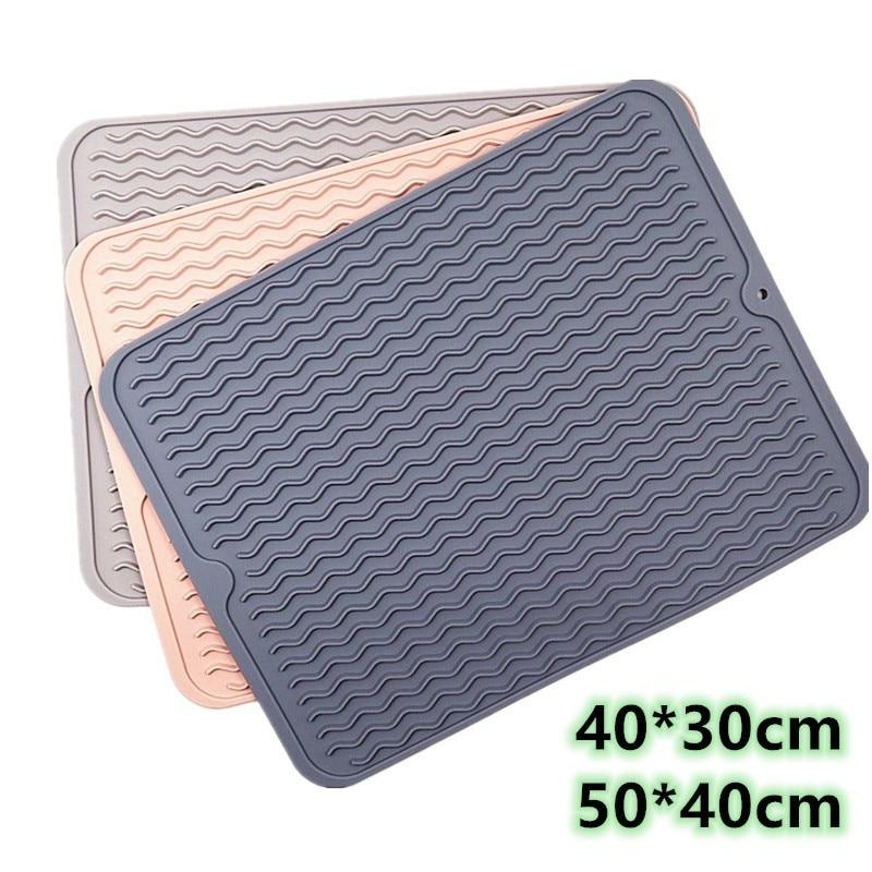 Large Multifuctional Silicone Drying Mats Heat Insulation Pot Holder Protector Dish Cups Draining Pad Table Rug Placemat Tray