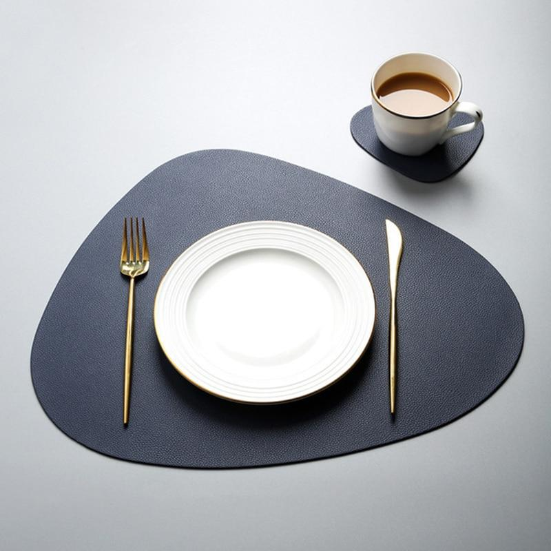 Leather Table Mats Place Mat Tableware Pad Placemat Table Mat Heat Insulation PU  Placemats Bowl Coaster Kitchen Non-Slip