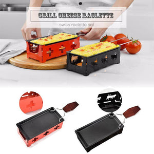 Milk Cheese Portable Non-Stick Metal Cheese Raclette Oven Grill Plate Rotaster Baking Tray Stove Set Kitchen Baking Tool