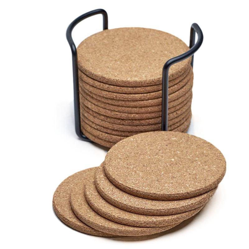 Natural Cork Coasters With Round 16pc Set with Metal Holder Storage Caddy – 1/5inch Thick  Absorbent  Eco-Friendly  Heat-Resista