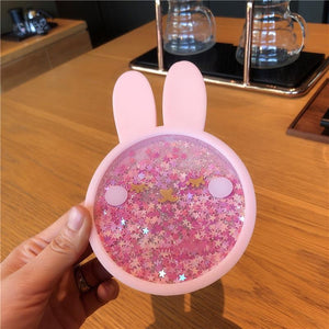 New Cute Coasters Rabbit Romantic Cherry Blossom Season Ocean Quicksand Silicone Water Cup Mug Placemat Cushion Insulation Pad