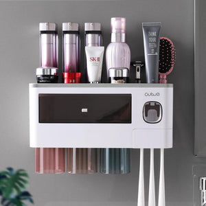 2020New Bathroom Accessories Toothbrush Holder With Cups Automatic Toothpaste Squeezer For Bathroom Organizer Storage Rack