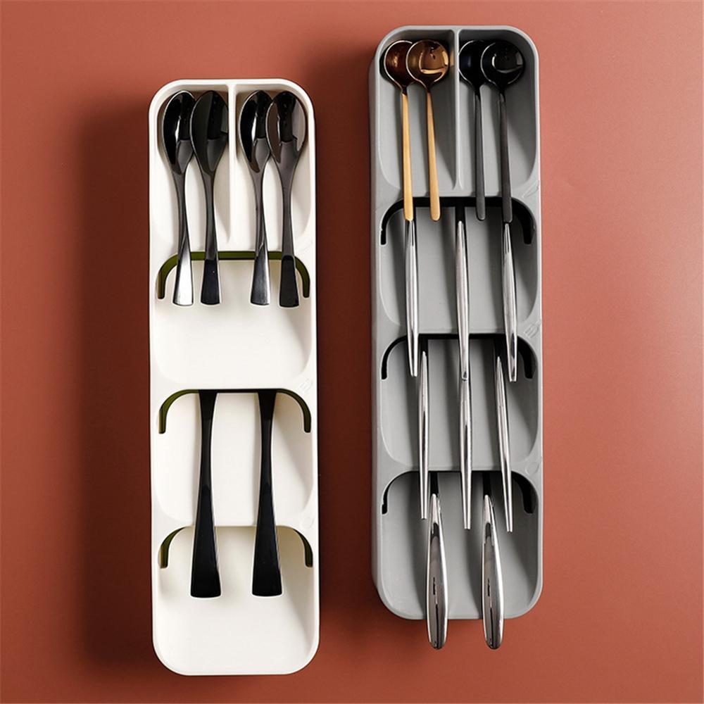 Plastic Cutlery Knife Block Holder Drawer Fork Spoons Storage Box  Cabinet Tray Kichen Organizer Utensils Divider Drawer Tools