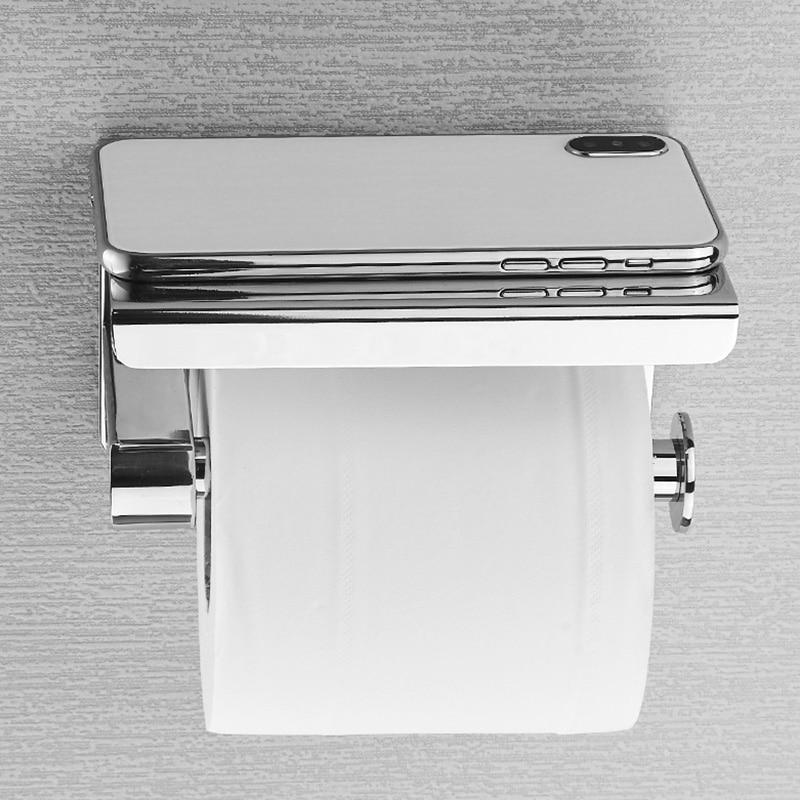 SUS 304 Stainless Steel Toilet Paper Holder with Phone Shelf  Bathroom Tissue Holder Toilet Paper Roll Holder