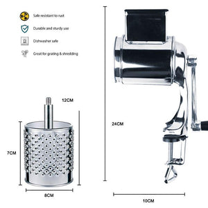 Rotary Cheese Grater Food Mills With 5 Drum Blade for Grating Cheese and Nut Grinder Grinding Nuts