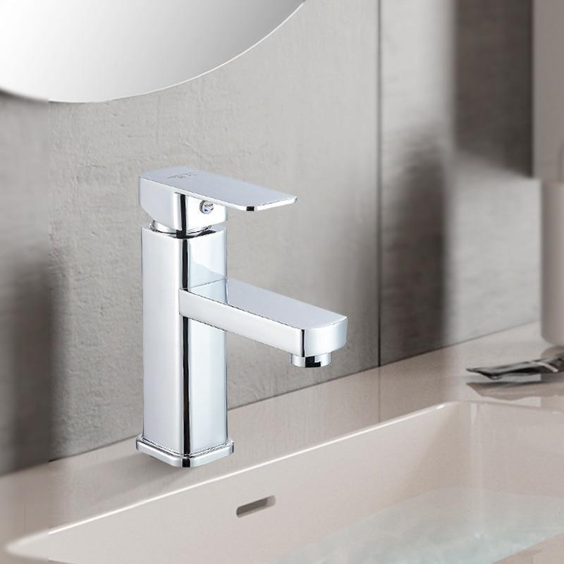 Basin Faucets Basin Faucet Tap Mixer Finish Brass Square Pillar Designer Water Chrome Modern Waterfall Faucets