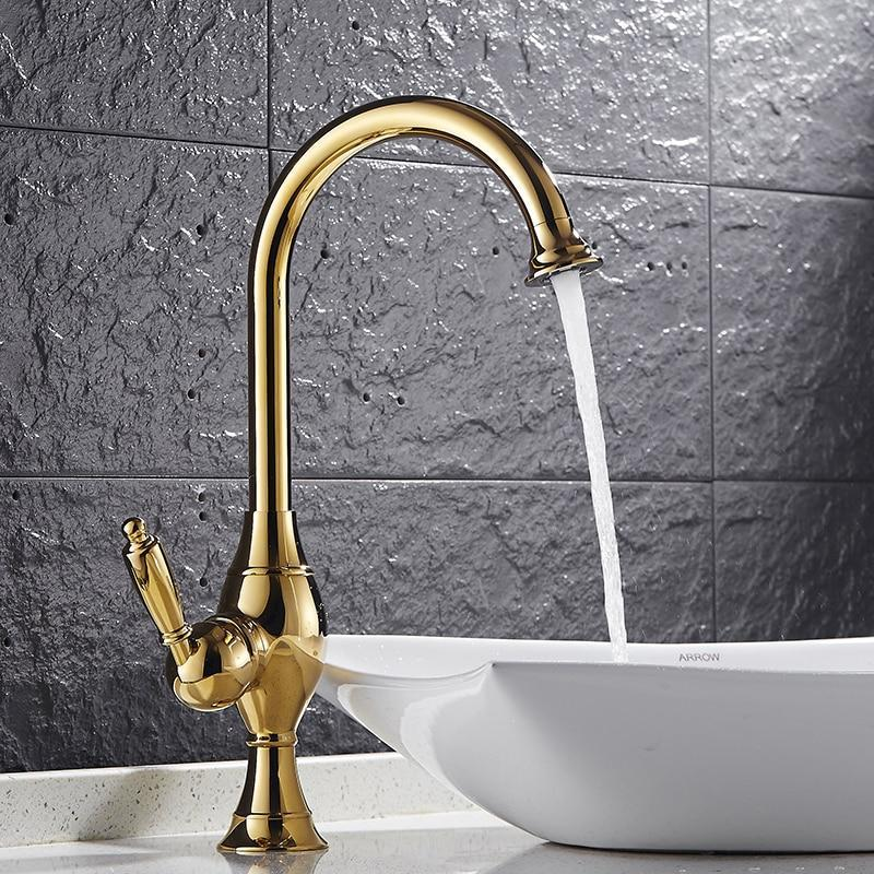 Basin Faucets Gold Single Handle Basin Tap Single Hole Handle Swivel 360 Degree Water Mixer Tap Bathroom Faucets