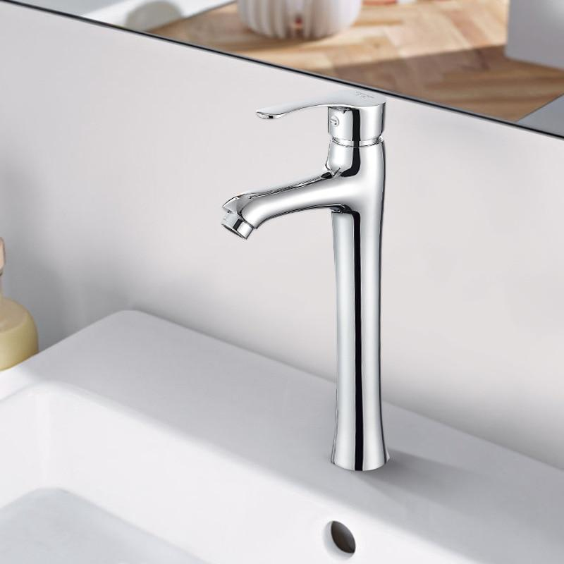 Basin Faucets White Color Basin Mixer Tap Bathroom Faucet Hot and Cold Chrome Finish Brass Toilet Sink Water Tap