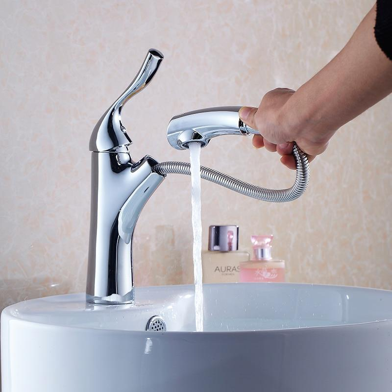 Pull Out Bathroom Basin Sink Faucet Single Handle Hot and Cold Water Crane Vessel Sink Mixer Tap