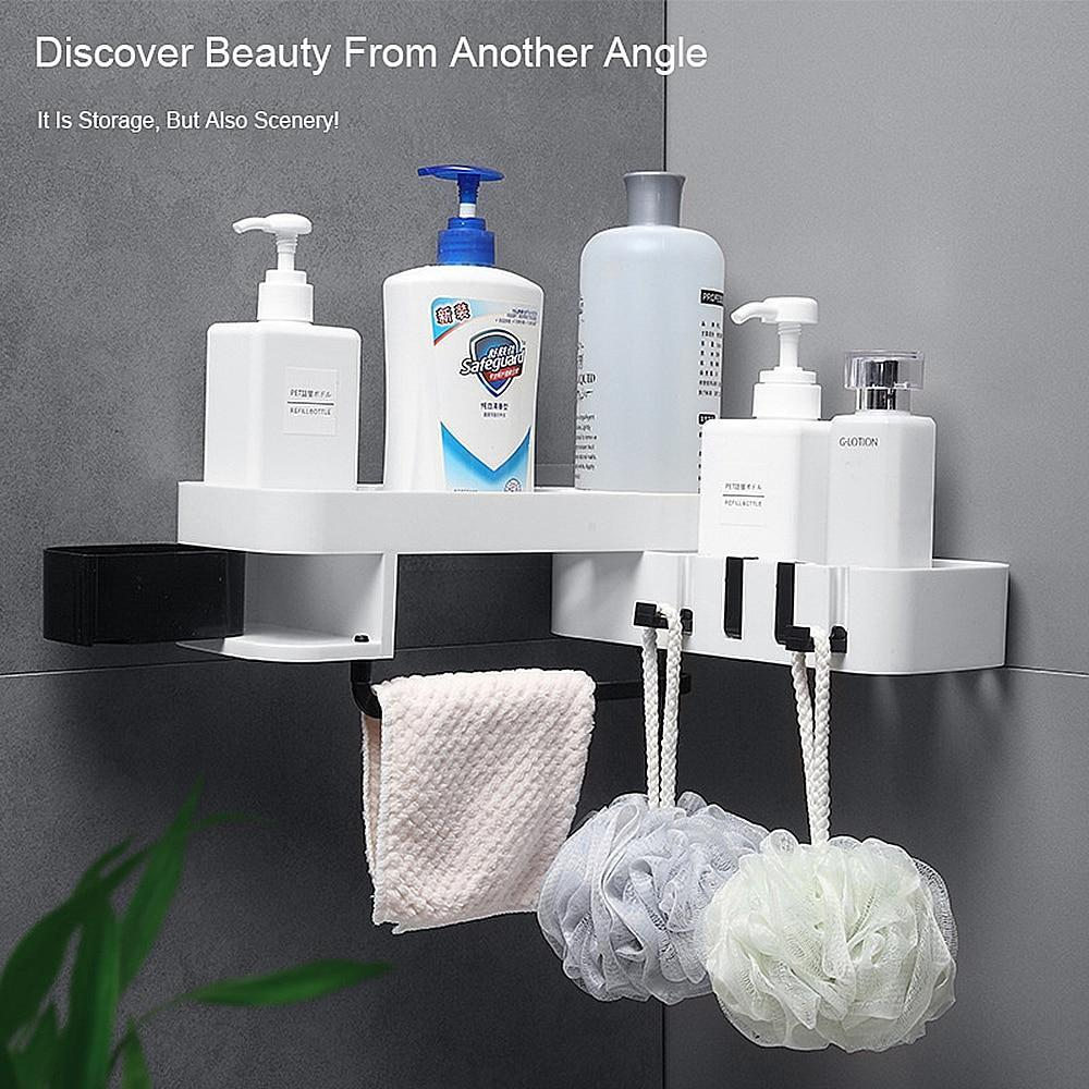 Shelf in Bathroom Corner Shelves Shampoo Holder Kitchen Storage Rack Mess Shower Organizer Wall Holder Space Saver For Household