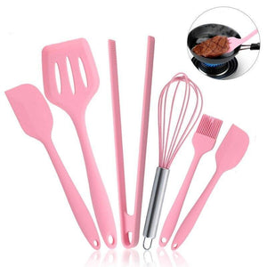 Silicone Cookware Set  Pink 6 Pieces Egg Beater Spoon Clip Spatula Oil Brush Kitchen Tools