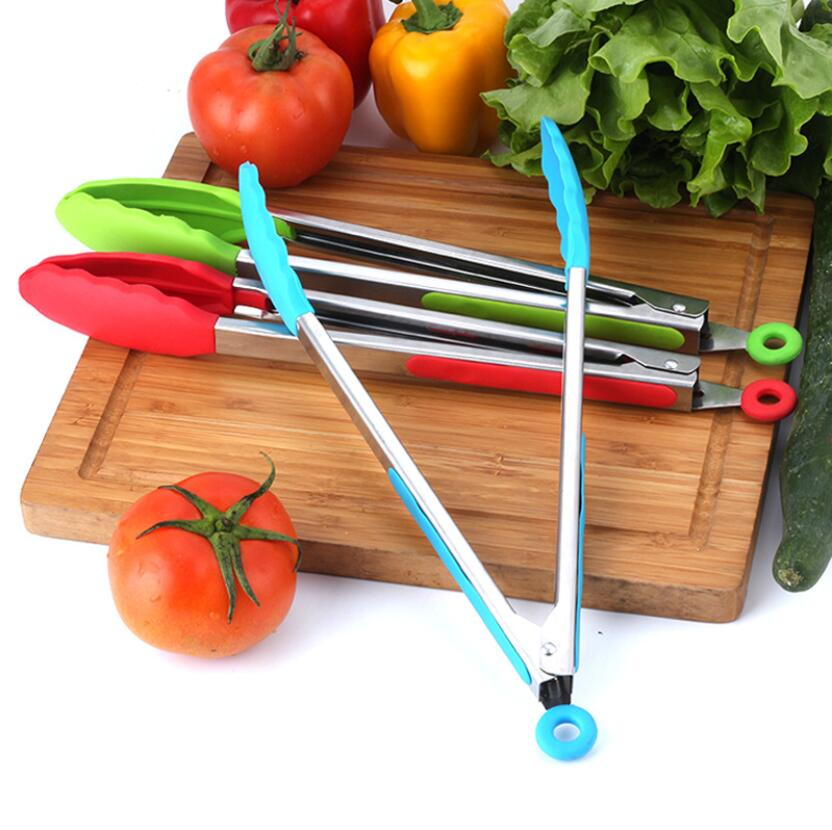 Silicone Food Tong Stainless Steel Kitchen Tongs Silicone Non-slip Cooking Clip Clamp BBQ Salad Tools Grill Kitchen Accessories