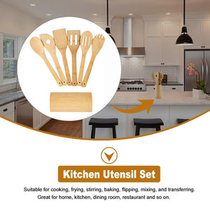 Spatula Home Mixing Frying Multifunctional Flipping Kitchen Utensil Set Bamboo With Holder Baking Spoons Stirring For Cookware