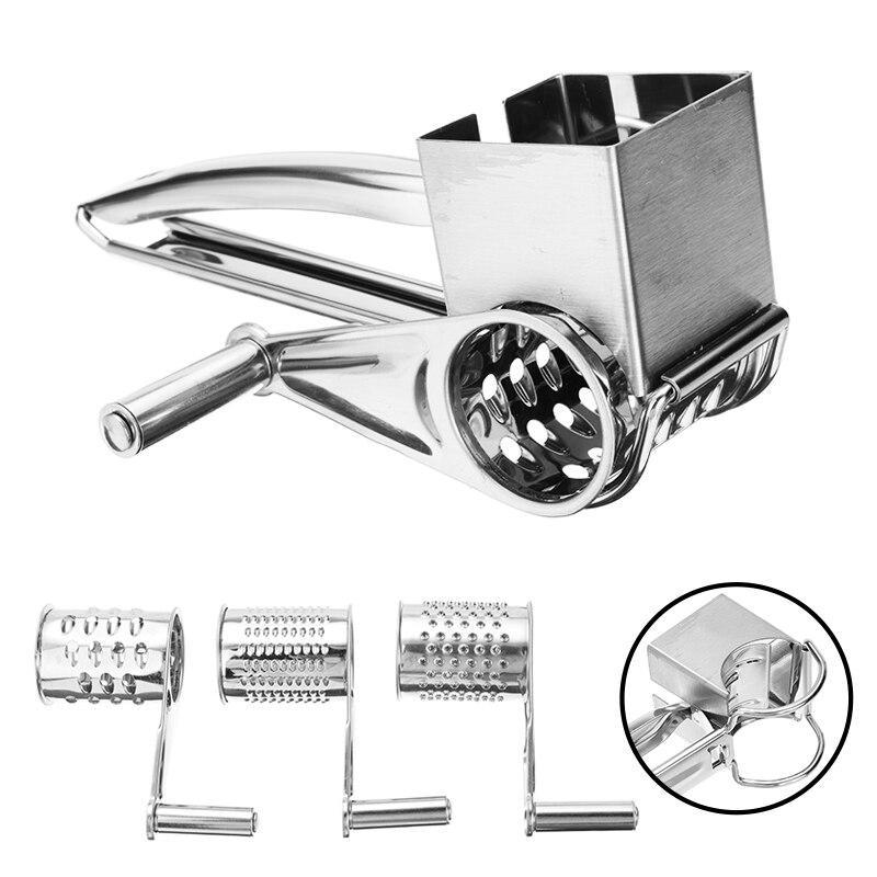 Stainless Steel Manual Cheese Grinder Cutter Rotary Cheese Grater Slicer With 3 Shaped Planer Blade Kitchen Convenience Tool