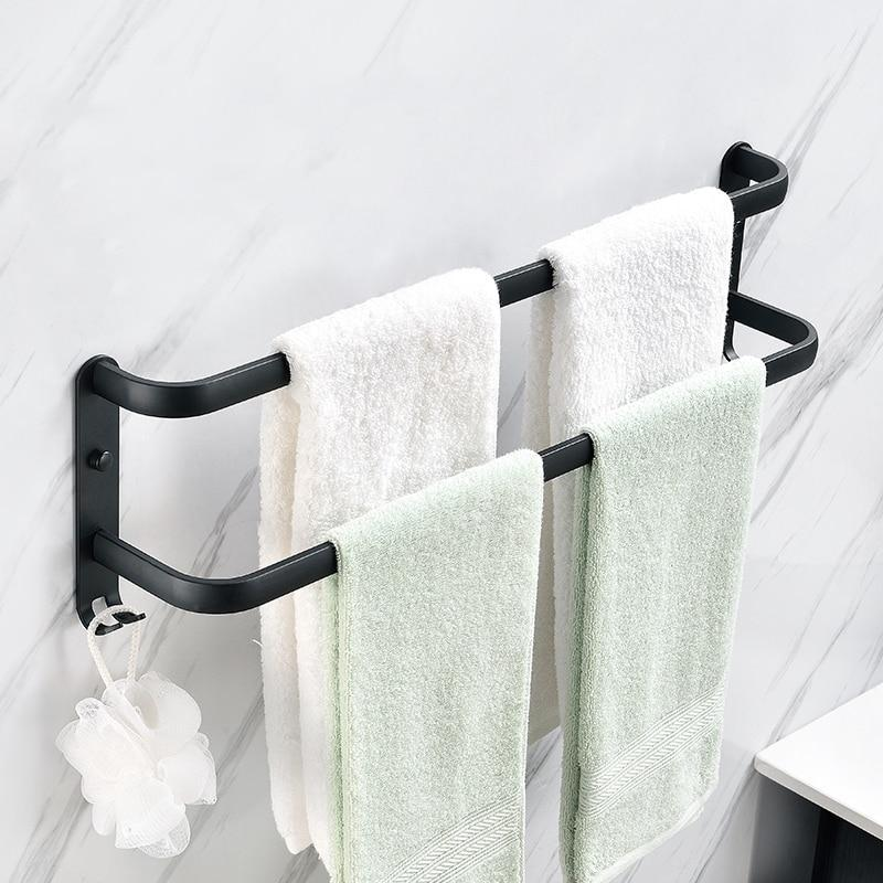 Wall Mounted Towel Rack Towel Hanger Rail Space Aluminum Black Towel Bar Rail Matte Black Towel Holder Bathroom Accessories