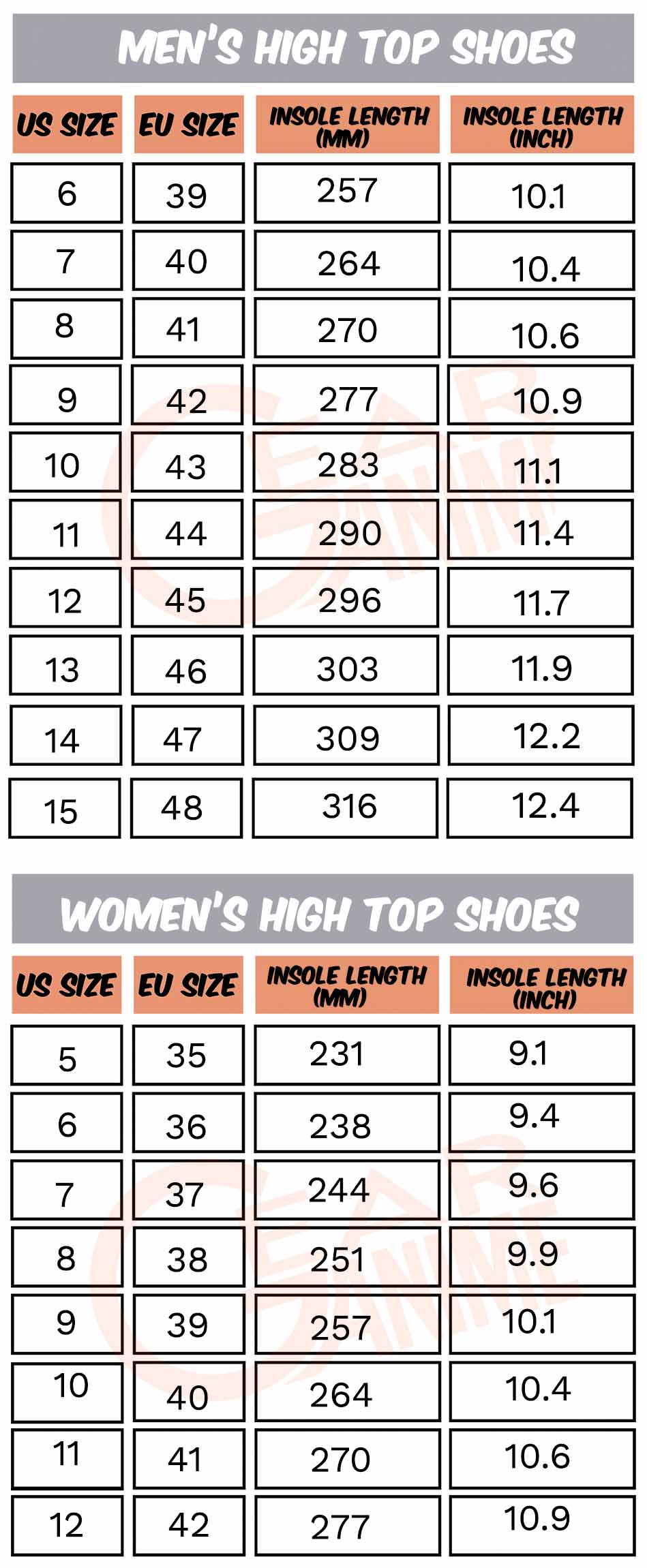 Gear Anime - Sizing Chart - High Top Shoes